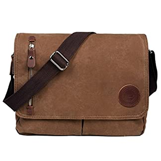 LOSMILE Bolsa Bandolera de Tela de Lona para Hombre A Caqui,Unisex Vintage Canvas Bolso de Hombro para Messenger Bag para Trabajo Uni Viaje Deporte. (Marrón)