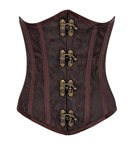 Hlgo corsetto donna cforsetto stringivita sexy corsetto stringivita sottoseno marrone, m