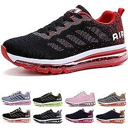 Air Zapatillas de Running para Hombre Mujer Zapatos para Correr y Asfalto Aire Libre y Deportes Calzado Black Red 37