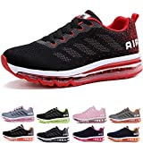 Uomo Donna Air Scarpe da Ginnastica Corsa Sportive Fitness Running Sneakers Basse Interior Casual all'Aperto Black Red 44