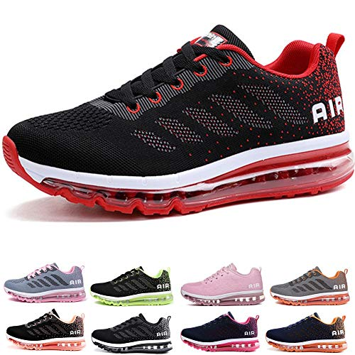Uomo Donna Air Scarpe da Ginnastica Corsa Sportive Fitness Running Sneakers Basse Interior Casual all'Aperto Black Red 36