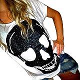 Damen Kurzarm, Frashing Frauen Mädchen Kurzarm Skelett Print Weiß T-Shirt Tops Blusen O-Ausschnitt Kurzarm Shirt Sommer Tops Hemd Bluse Oberteile (XL, Weiß)