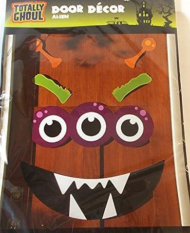 Alien Halloween Décorations - Halloween Door Decoration Alien Eyes Mouth Eyebrow