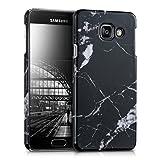 kwmobile Cover per Samsung Galaxy A3 (2016) - Custodia rigida in plastica per cellulare - Hard case back cover Design marmo nero bianco