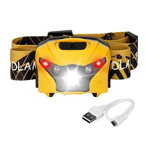 Frontales LED Recargables USB Cable Ligera y Confortable Lámpara de Cabeza Impermeable...
