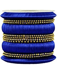 Kalyani Covering Blue Thread Metal Bangle Set For Women & Girls