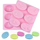 Stampi in silicone per sapone, 2Pcs 6 cavità, forma ovale, stampo per fai da te fatto in casa, per sapone, torte, biscotti, cioccolato, muffa, Ice Cube(rosa)