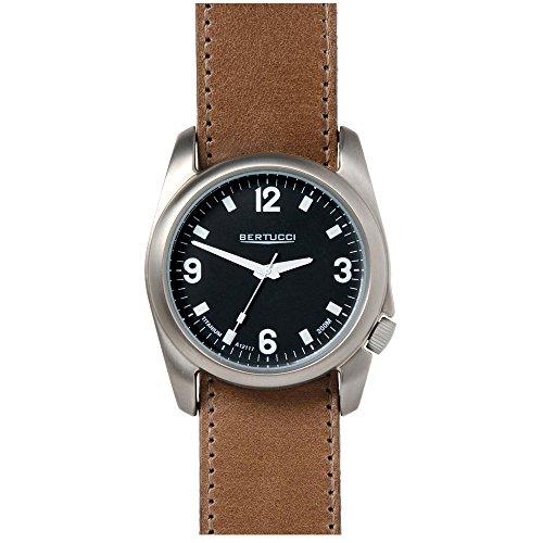 Bertucci 13473da uomo in pelle marrone fascia quadrante orologio al quarzo nero
