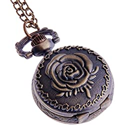 Ladies Pendant Pocket Watch Antique Look Quartz With Chain Small Face White Dial Arabic Numerals Vintage Necklace Rose Design - PW-60