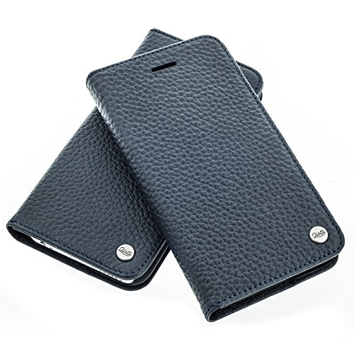 QIOTTI >          Apple iPhone 5 / 5S / SE          < incl. PANZERGLAS H9 HD+ Geschenbox Booklet Wallet Case Hülle Premium Tasche aus echtem Kalbsleder mit KARTENFÄCHER und STANDFUNKTION. Edel verpackt incl. Stoffbeute BLAU
