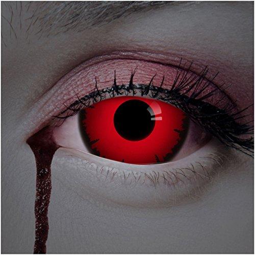 aricona Kontaktlinsen Farblinsen rote Sclera Kontaktlinsen 17mm 2er Set farbige Jahreslinsen