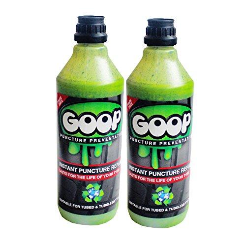 Goop® - Sellador de neumáticos de pinchazos, 2 Botellas de 500 ML, Fabricado en el Reino Unido