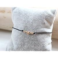 Glücksarmband Armband mit Stern und 6 Perlen in rosegold farben Makrameearmband Macrame modern trendy Sternarmband Wunscharmband verschiedene Farben