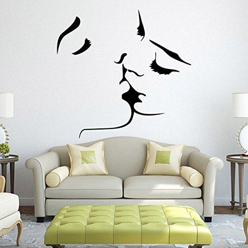 Kuss Wandtapeten für Wohnzimmer Schlafzimmer Sofa Hintergrund Tv Wand Hintergrund, Originalität Aufkleber Geschenk, DIY Wandtattoo Wand Dekor Wandschmuck
