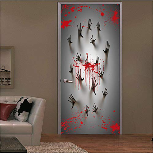 dalongshan Türaufkleber Blutige Handprint Schleifen Glas Badezimmertür 3D DIY PVC Tür Aufkleber Halloween Dekoration Wandtattoos Vintage Post Abnehmbare 90 * 200Cm