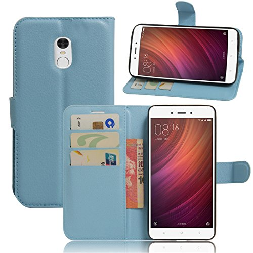 Xiaomi Redmi Note 4 Funda, Wrcibo Xiaomi Redmi Note 4 Funda Flip de PU Cuero Billetera Cartera Monedero Funda Caso Case para Xiaomi Redmi Note 4 Smartphone(Azul)