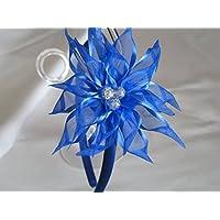 Cerchietto blu con fiore Kanzashi a tono