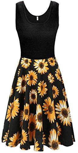 KorMei Damen Ärmelloses Beiläufiges Strandkleid Sommerkleid Tank Kleid Ausgestelltes Trägerkleid Schwarz&Gelb L