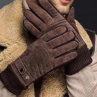 Guantes de invierno con pantalla táctil para hombres Cálidos y resistentes al viento, además de terciopelo, guantes de cuero grueso Guantes de cuero con pantalla táctil para motocicletas al aire libre
