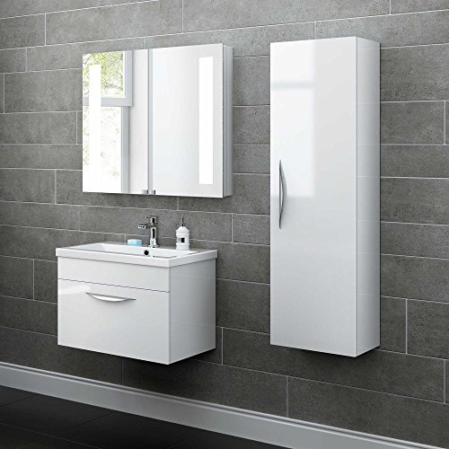 1200 mm Tall White Bathroom Furniture Wall Hung Modern Cupboard Cabinet Storage Unit MF820