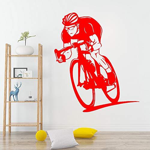 Ajcwhml Schönheit Fahrrad Wandaufkleber Vinyl abnehmbare Dekoration Wohnzimmer Schlafzimmer Dekoration Wandtattoo Junge Raumdekoration 红色 43cm X 50cm