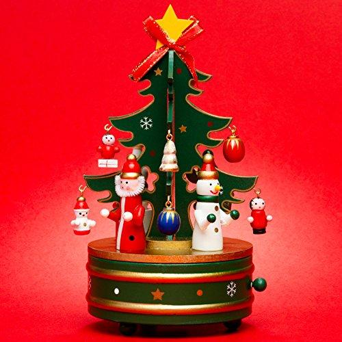 Sikora SD03 Spieldose/Spieluhr für Weihnachten aus Holz mit Tannenbaum Musik Stille Nacht, Farbe:grün