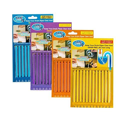 Sani Sticks hält Abflüsse und Rohre klar und Geruch, wie im Fernsehen gesehen Reinigung Werkzeug Badewanne Dekontamination Haar sauber 4 Packungen (48 Stück) (zufällige Farbe)