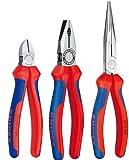 Knipex Montage Satz - Kombizange 03 02 180 - Seitenschneider 70 02 180 - Flachrundzange mit Schneide 26 12 200 - 3tlg