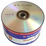 50 Pack Verbatim Blank DVD-R DVDR Logo Branded 16X 4.7GB 120min Recordable Media Disc + 50 White Paper Sleeves Window Flap Envelope