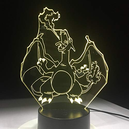Pokemon Lamp Charizard Shape Illusion Lamp Illusion LampChange Night Light 3D Table Light Table LE