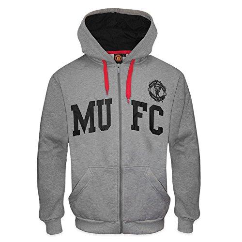 Manchester United FC officiel - Pull à capuche thème football - motif graphique/polaire - homme - Gris MUFC - Medium