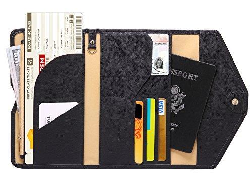 Leder Passport Wallet (Zoppen RFID Blocker Reisepasshülle (Ver.4) Passport Hülle Halter dreifach Dokumente Organizer, 1# Schwarz)