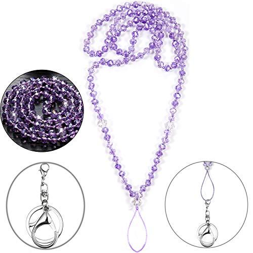 Damen, Schlüsselband für Ausweis, Schlüssel, Handy, starkes Umhängeband, modisch, schöne Perlenkette, Halsketten, Violett ()