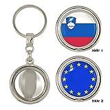 Slowenische und EU Flagge beidseitigen Spinner Schlüsselanhänger