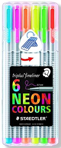 Staedtler 334 SB6CS3 Fineliner triplus dreikant, 0.3 mm, 6 ST, neon