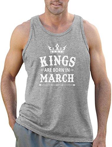 Geschenk für den Mann - Kings are born in März Tank Top Grau