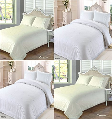 Bedding Heaven. Beautifully embroidered Broderie Anglaise design embellished with a lace type edging that adds a gorgeous finish. Duvet Cover. White or Cream. Single, Double, King Size. (King, White)