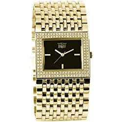 Davis 'Elegance Pool' Quartz Watch with Golden Steel Bracelet and Stone Surround