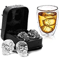 ComCreate 3D Skull Ice Mold Cube Tray Silica Gel Creative Diy Ice Cream Model Chocolate Cast Harmless Drinking Frozen Block For Party Bar Silicone Ice Cube Mold Tray