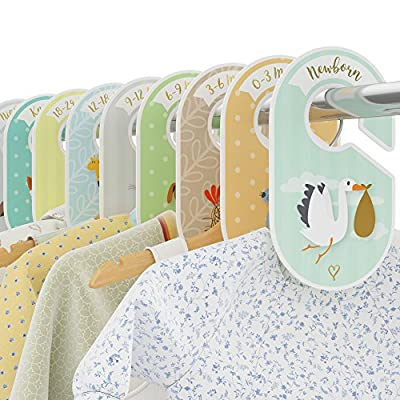 Cozy Hedgehog Baby Wardrobe Dividers - 18 closet organisers/hangers - Arrange clothes by clothing type or age - Perfect baby shower gift set - Unisex Woodland/Safari/Farm animal theme by - low-cost UK light shop.