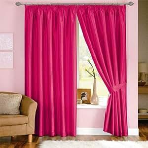 Dreams 'N' Drapes - Rideaux doublés avec tête fourreau plissée Java - imitation soie - rose - 117 x 137 cm
