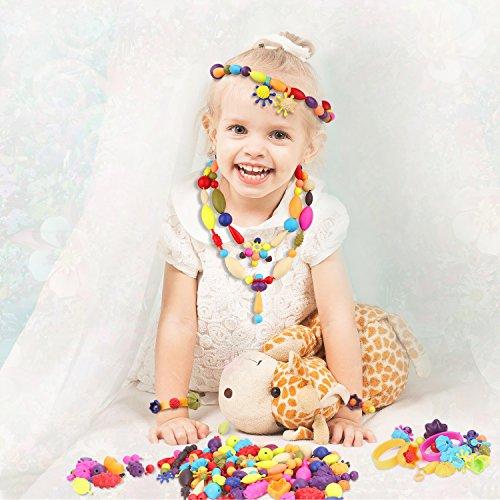 Pop Snap Beads Perlen Set, Zooawa DIY Schmuck Kreativ Kits für Mädchen, die Halskette, Ohrringe, Armbänder und Ringe, [200 Stück] Handwerk Geschenk für 3 + Kinder