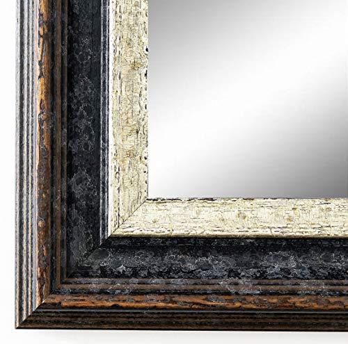 Spiegel Wandspiegel Badspiegel Flurspiegel Garderobenspiegel - Über 200 Größen - Trento Schwarz Silber 5,4 - Außenmaß des Spiegels 80 x 140 - Wunschmaße auf Anfrage - Antik, Barock