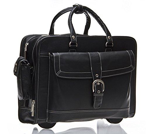 Business Laptop Tasche Mit Rollen Schwarz Leder 43.2cm Reisetasche Neu -