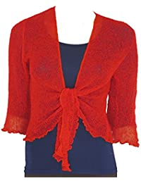 bab759a04f2 LADIES PLAIN KNITTED CROPPED TIE UP BOLERO SHRUG TOP - MASSIVE RANGE OF  COLOURS FIT ALL