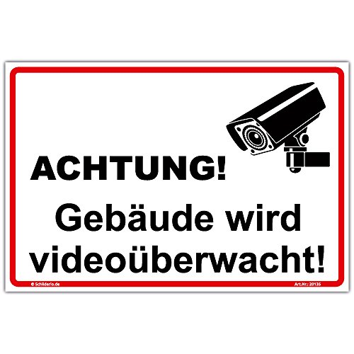 """Schild""""Gebäude wird videoüberwacht"""" Hinweisschild 300x200 mm stabile Aluminiumverbundplatte 3mm stark"""