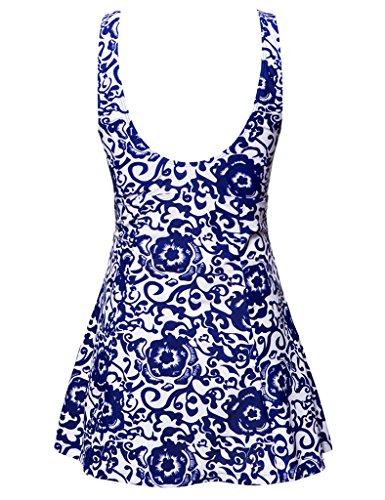 Wantdo Damen Band um Hals Sommer Einteiliger Badeanzug Große Größe Brilliant Blau(9007)