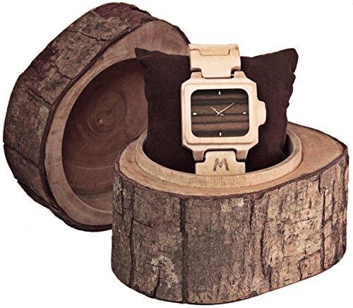MATOA Sumba - Holz-Armbanduhr handgefertigt aus Kanadischem Ahorn | Unisex Holzuhr für Damen und Herren | Edle Geschenk-Verpackung aus Mahagoni-Holz