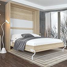 cama plegable cm vertical color roble sonoma cama plegable u cama de pared smartbett sin colchn