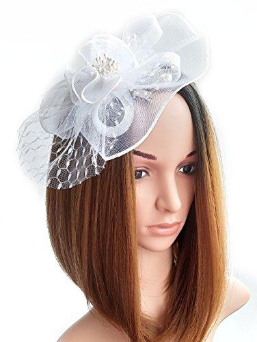 Frauen Fascinators Hut Haarclip Blumen Perlen für Cocktail Headwear Party Kopfschmuck (Mini Mit Rosa Weißer Schleier Hut)